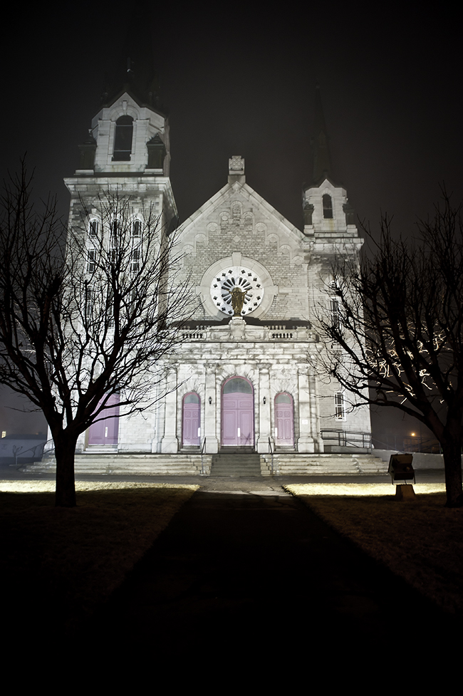 Graceful church on a chilly March night in Quebec